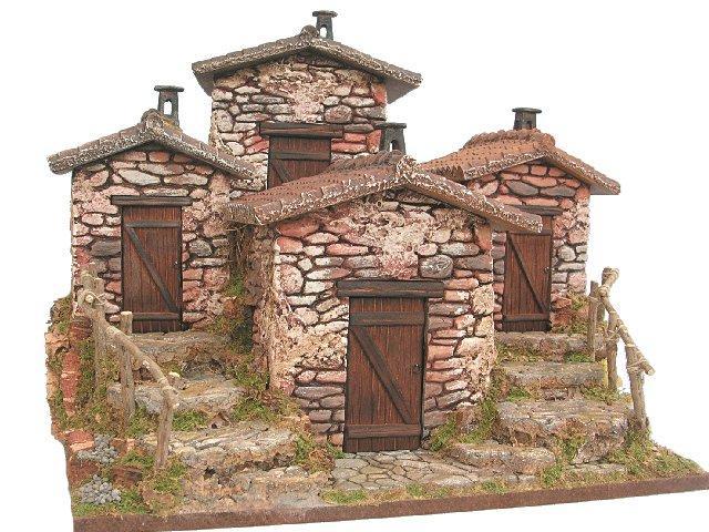 Gruppo case in pietra case tende case tende accessori scenografia per presepi frisa presepi - Come costruire una casa in miniatura ...