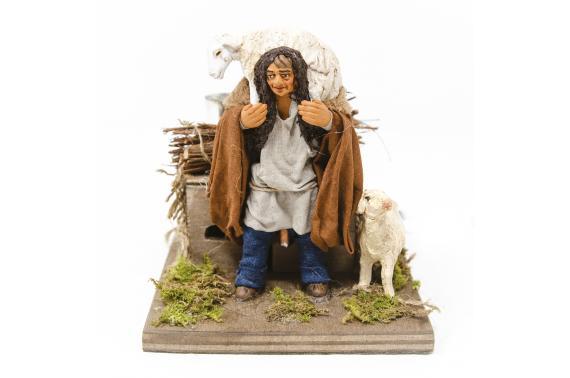 Uomo con pecora in spalla - Statue Presepe, Movimento - 10 cm
