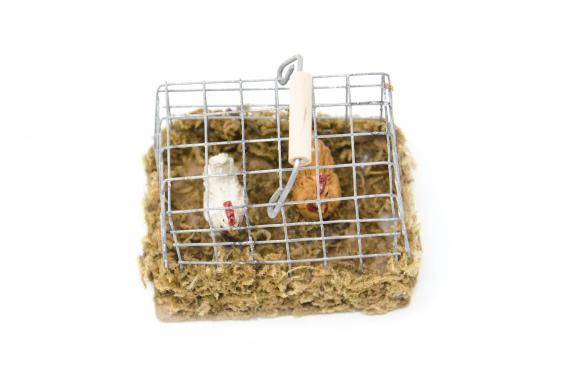 Gabbietta con galline - Animali Presepe in Resina