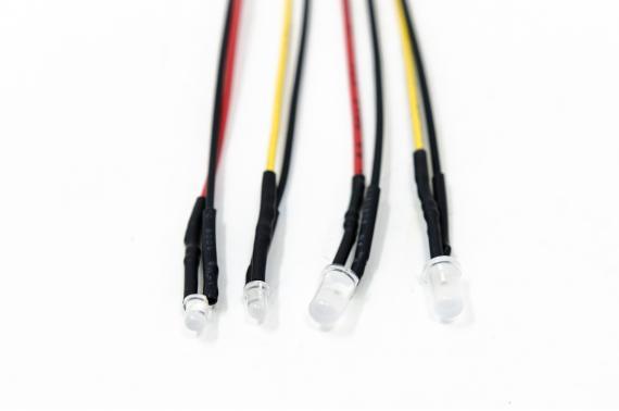 Confezione 4 LED FUOCO con filo - Accessori 2,1 mm