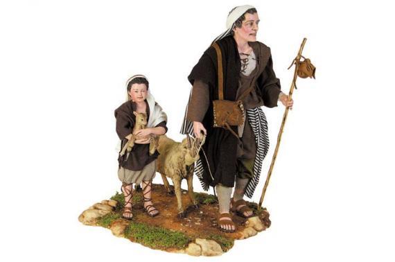 Uomo con bimbo e capre - Artistici Vestiti Fissi - 30 cm