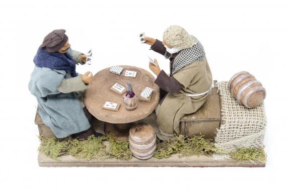 Coppia Giocatori di Carte - Movimento - 12 cm