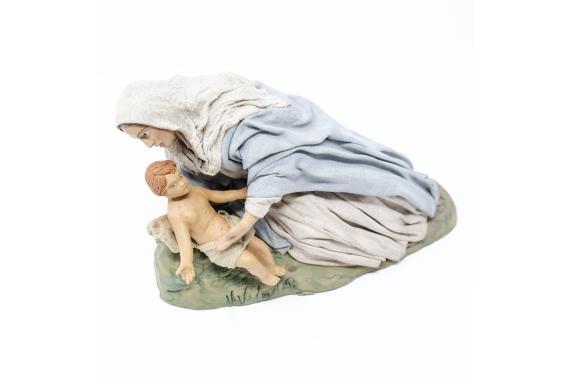 Madonna Distesa con Bambino - Fisse Vestite - 20 cm