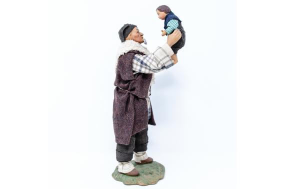 Uomo che Alza il Bimbo - Fisse Vestite - 24 cm