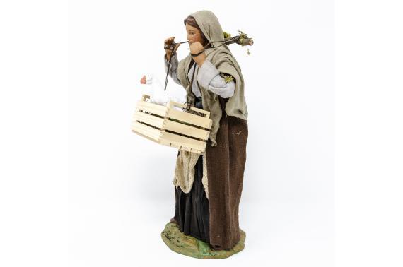 Donna con Cassetta di Oche - Fisse Vestite - 24 cm