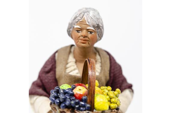 Donna con Cesto di Frutta - Fisse Vestite - 24 cm