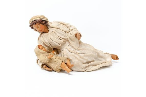 Madonna Stesa con Bambino - Fisse Vestite - 24 cm