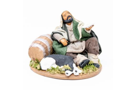 Mendicante seduto con Cane - Fisse Vestite - 12 cm
