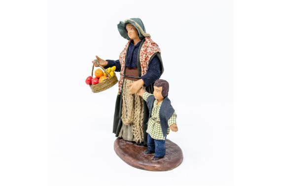 Donna con Bimbo per Mano - Fisse Vestite - 12 cm