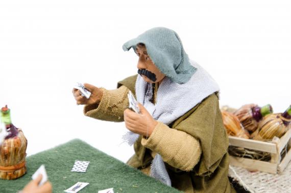 Coppia Giocatori di Carte - Movimento - 15 cm