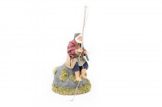 Pescatore su Roccia - Movimento - 15 cm