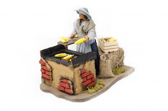 Donna cuoce pannocchie - Movimento - 15 cm