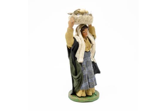 Donna con cesto e uova - Fisse Vestite - 10 cm