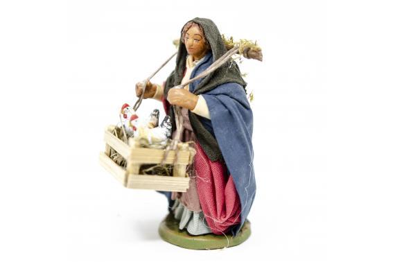 Donna con cassetta galline - Fisse Vestite - 10 cm