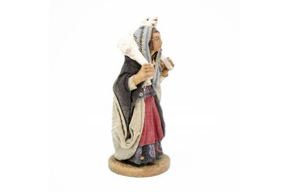 Donna con pecora in spalla - Fisse Vestite - 10 cm