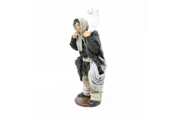 Uomo con Pecora in Spalla - Fisse Vestite - 12 cm