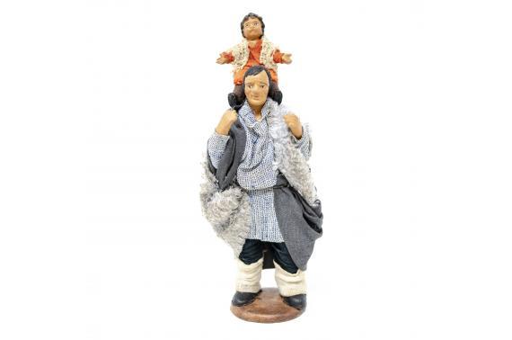 Uomo con Bimbo in Spalla - Fisse Vestite - 12 cm