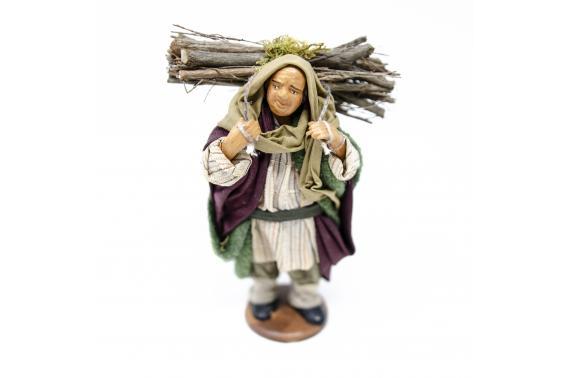Uomo con Legna in Spalla - Fisse Vestite - 12 cm