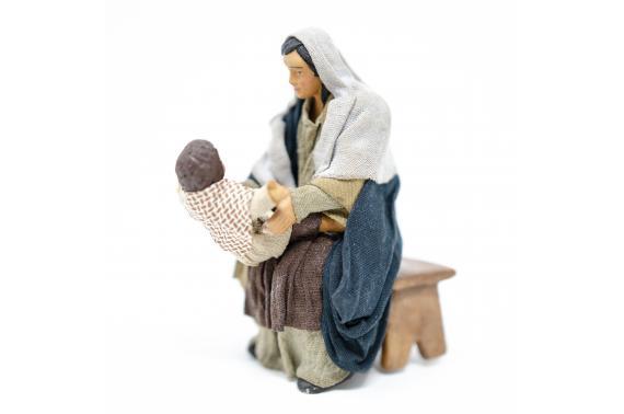 Donna Seduta con Bambino - Fisse Vestite - 12 cm