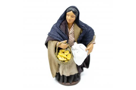 Donna con Cesto di Pane e Sacco - Fisse Vestite - 12 cm