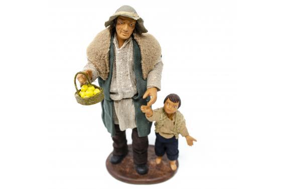 Uomo con Bimbo per Mano - Fisse Vestite - 16 cm