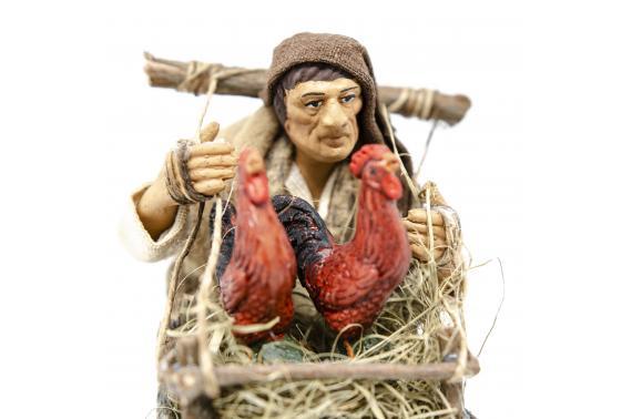 Uomo con Gabbia di Galline - Fisse Vestite - 16 cm
