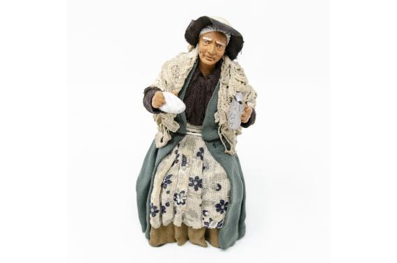 Donna con Grattugia per Tavolata - Fisse Vestite - 16 cm