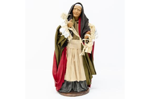 Donna con Ceppi di Aglio e Cipolle - Fisse Vestite - 16 cm