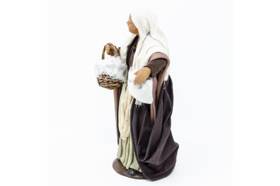 Donna con Cesta di Pane - Fisse Vestite - 16 cm