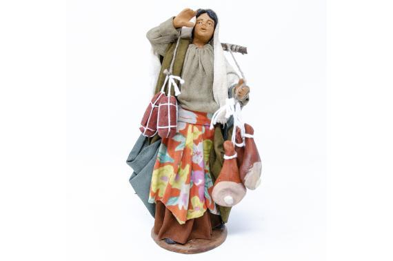 Donna con Salumi e Prosciutti - Fisse Vestite - 16 cm