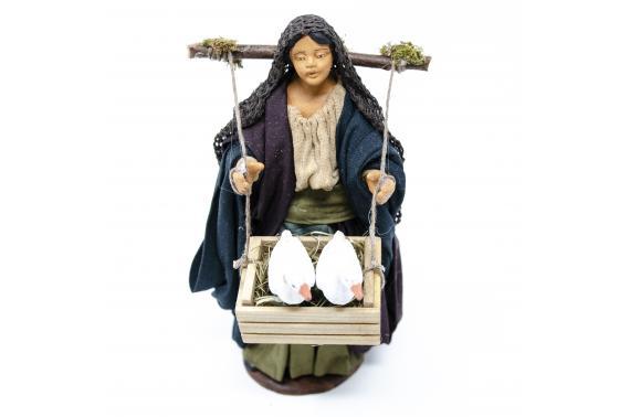 Donna con Gabbia di Oche - Fisse Vestite - 16 cm
