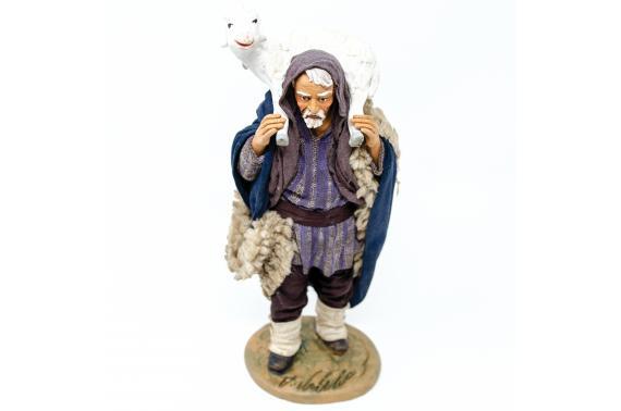 Uomo con Pecora in Spalla - Fisse Vestite - 20 cm
