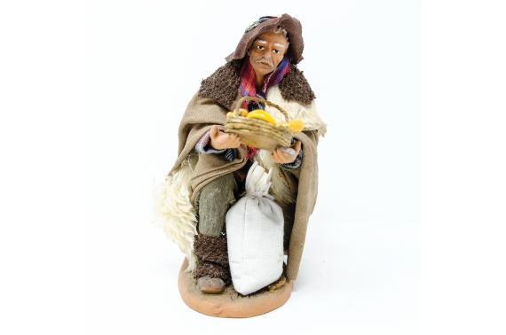 Uomo in Ginocchio con Cesta di Pane - Fisse Vestite - 20 cm