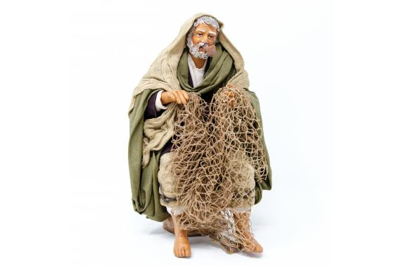 Pescatore che Fila la Rete - Fisse Vestite - 20 cm