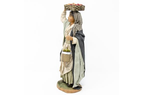 Donna con Cesto Mele in Testa - Fisse Vestite - 20 cm