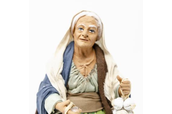 Donna con Ceppi d'Aglio e Meloni - Fisse Vestite - 20 cm