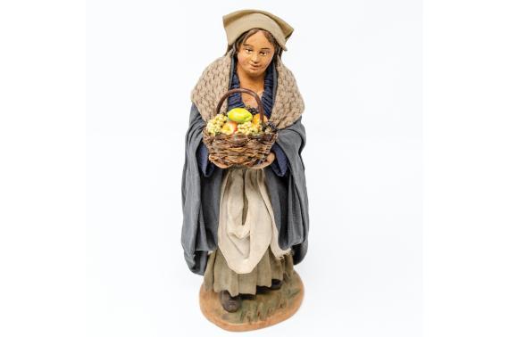 Donna con Cesto di Verdura - Fisse Vestite - 20 cm