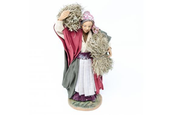 Donna con Fascina di Paglia - Fisse Vestite - 20 cm