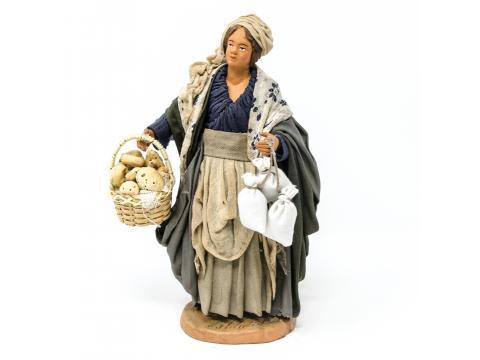 Donna con Cesto di Pane e Sacchi - Fisse Vestite - 20 cm