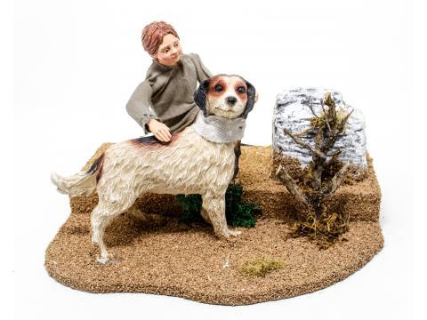 Bambino con cane - Statue Presepe, Artigianato in Movimento