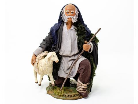 Uomo in Ginocchio con Pecora - Fisse Vestite - 24 cm