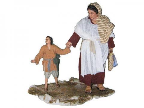 Donna con figlio - Artistici Vestiti Fissi - 30 cm