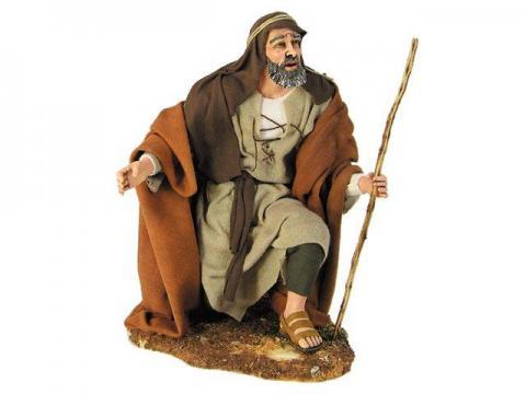 Pastore che guarda meravigliato - Artistici Vestiti Fissi - 30 cm