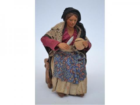Donna con Pane per Tavolata - Fisse Vestite - 24 cm