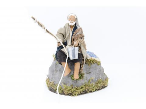 Pescatore su Roccia - Movimento - 12 cm