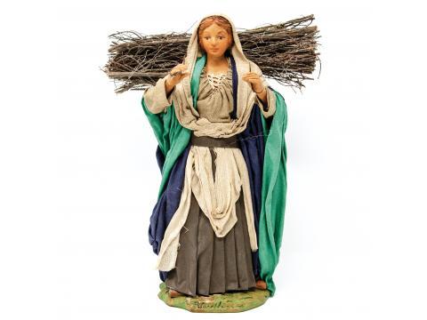Donna con Legna in Spalla - Fisse Vestite - 24 cm