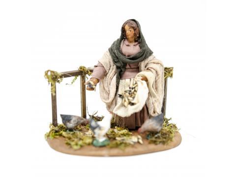 Donna con galline - Fisse Vestite - 10 cm