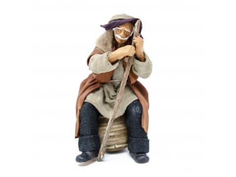 Vecchio Seduto con Bastone - Fisse Vestite - 12 cm