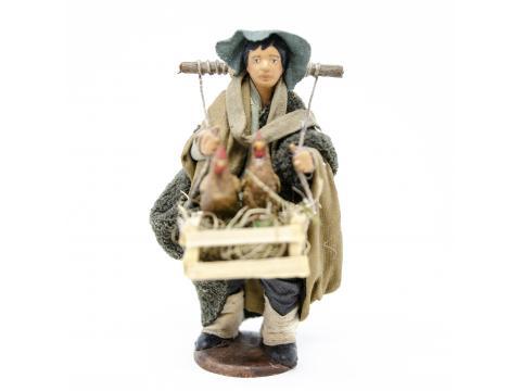 Uomo con Gabbia e Galline - Fisse Vestite - 12 cm