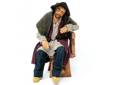 Uomo che Dorme su Sedia - Fisse Vestite - 20 cm